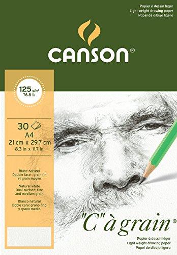 Bloc Encolado, A4, 30 Hojas, Canson C à Grain, Grano Fino 125g
