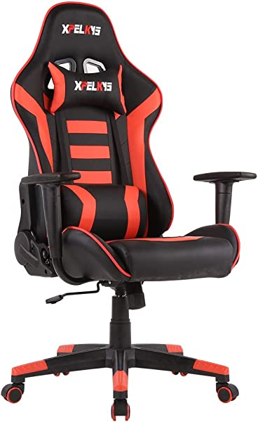 XPELKYS Gaming Office Chair Computer Desk Chair Racing Style High Back PU Leather Chair Executive And Ergonomic Style Swivel Chair With Headrest And Lumbar Support Red 10