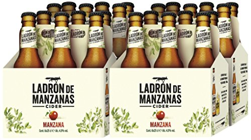 Ladrón de Manzanas Cider Manzana - 4 Packs de 6 Botellas x 250 ml - Total: 6 L
