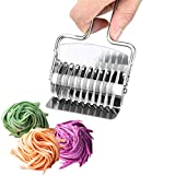 ZUQIN Stainless Steel Noodle Lattice Roller, Pasta Cutter Wheel Pasta Spaghetti Maker Noodle Dough Cutter Mincer Kitchen Tool
