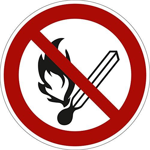 Feuer, offenes Licht und Rauchen verboten, PVC-Folie selbsklebend, 100 mm Ø, gemäß ASR A1.3 / ISO 7010 P003, Verbotszeichen Aufkleber, 10 cm