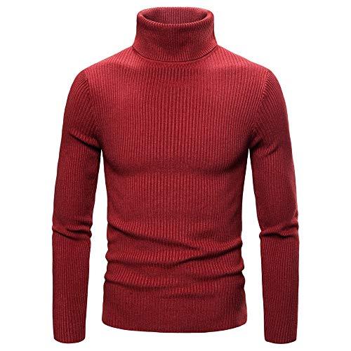 Sweater Herren Gestrickt Herren Bequemer Hochkragen Slim Fein Gestrickter Herren Pullover Neuer Warmer All-Match Business Casual Langarm Einfachheit Herren Pullover L-Red M