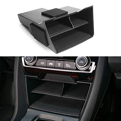 CKE For 10th Gen Civic Center Console Organizer ABS Black Materials Tray Armrest Storage Box Glove Pallet Container For Honda civic 2020 2019 2018 2017 2016