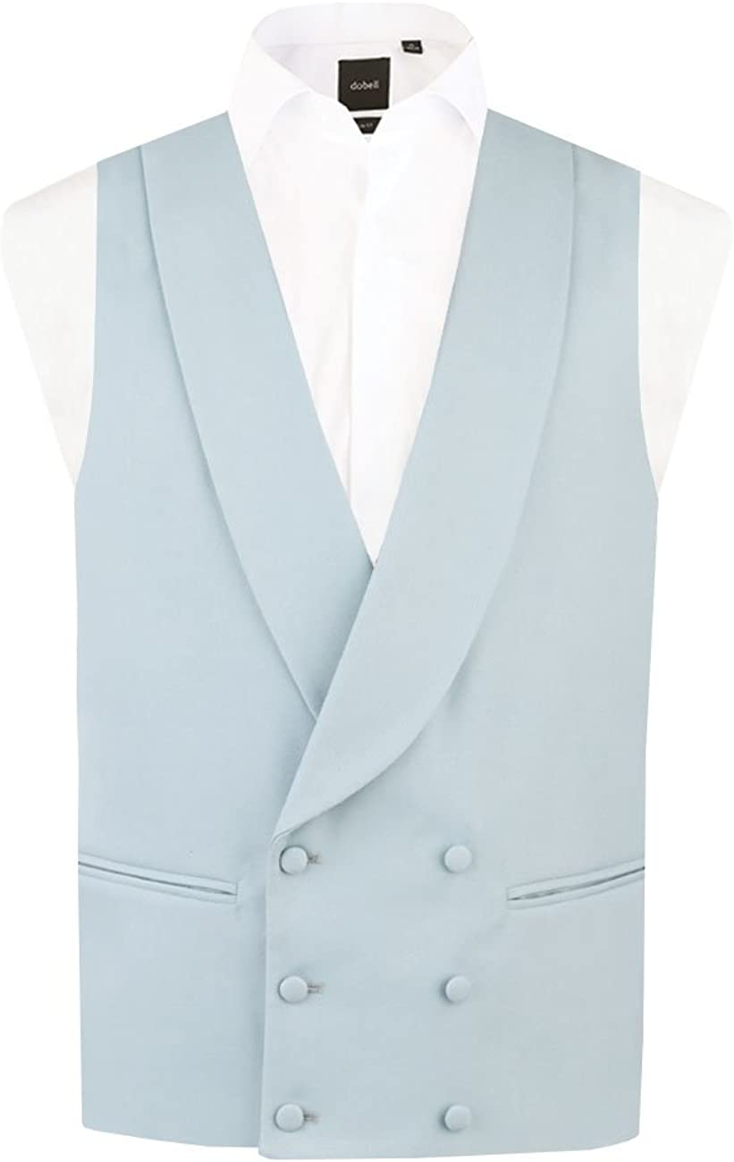 Dobell Mens Duck Egg Blue Morning Suit Wedding Vest Regular Fit Shawl Lapel Double Breasted-L (42-44in)