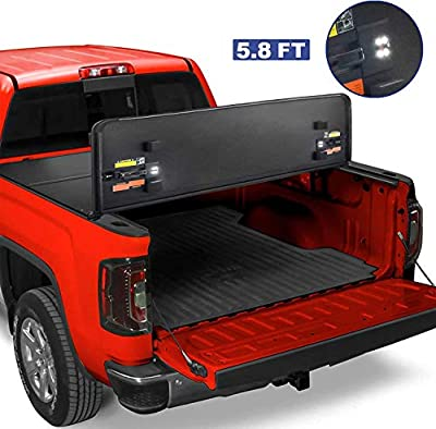 MOSTPLUS Tri-Fold Hard Truck Bed Tonneau Cover On Top Compatible for 2014 2015 2016 2017 2018 Chevy Silverado/GMC Sierra Bed 3 Fold Fleetside Solid (5.8 FT Feet Bed)