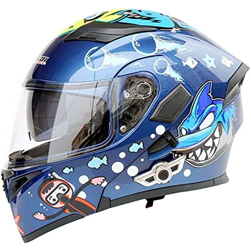HVW Casco Bluetooth para Motocicleta, Certificado por Dot Adultos Casco Bluetooth 5.0 para Motocicleta Casco Abatible Multifunción Lente De Doble Capa Antivaho Casco De Carreras Modular,A,L59to60cm