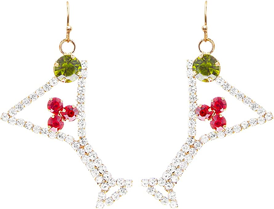 Rosemarie & Jubalee Women's Gold Tone Holiday Christmas Martini Cocktail Glass Crystal Rhinestones Earrings