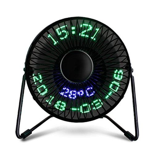 LEDMOMO Mini-Ventilator mit USB-LED-Uhr, tragbarer Echtzeit-Kalender-Temperaturanzeige, Ventilator für Zuhause und Büro