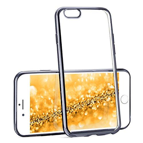 moex Transparente Silikonhülle im Chrome-Style kompatibel mit iPhone 6S Plus / 6 Plus | Flexibler Schutz mit Hochglanz Metallic Rahmen, Anthrazit