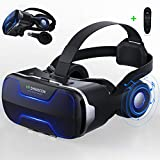 "LONGLU VR Headset /Goggles with Headphones& Controller, 3D Virtual Reality Glasses with Blue Light Compatible for iPhone and Android 4.7-6.0"" Smartphone, Viewer for Movies & Video Games"