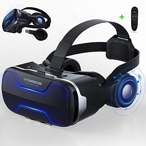 LONGLU Gafas de realidad virtual con auriculares y controlador, gafas de realidad virtual 3D con luz azul compatible para iPhone y Android 4.7-6 pulgadas, visor para películas y videojuegos