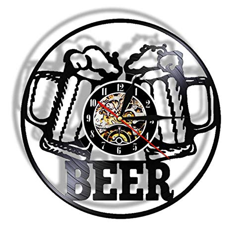 Bawangbieji Reloj de Pared Jarro de Cerveza Reloj de Pared de Vinilo Cuarzo Estilo Retro, silencioso, Decorativo para Cocina, hogar, Sala de Estar, Oficina, baño 30x30cm