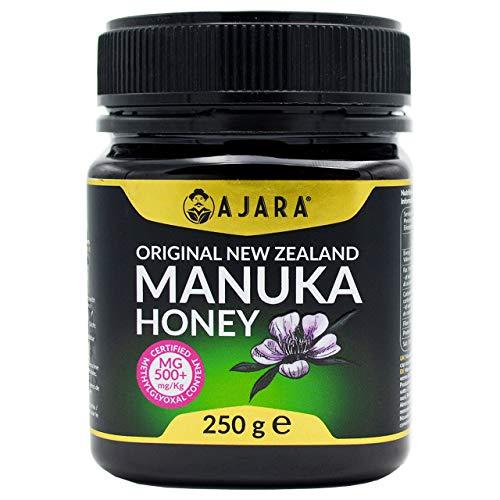 Manuka Honig 500+ MGO (250g) - Purer und natürlich zertifiziertes Produkt MGO Neuseeland - Aktiv - Dunkles Haustier Anti-UV - AJARA