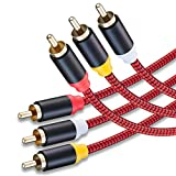 Audio Video RCA Cable 50Ft,3RCA Male to 3RCA Male 24K Gold Plated Composite AV...