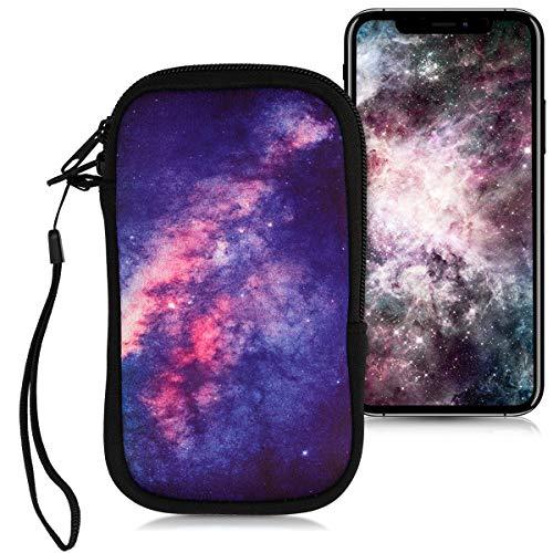 kwmobile Funda Universal para móvil de M - 5,5' - Estuche de Neopreno con Cierre - Carcasa Estrellas en la Galaxia