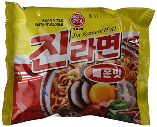 Ottogi Hot Jin Ramen Noodles, 4.23 Ounce (Pack of 20)