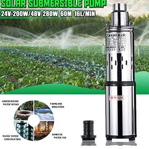 SISHUINIANHUA Irrigación Bomba de Agua Solar 24V / 48V 200W / 280W 16L / Min 40 / 60M Pozo Profundo Bomba Sumergible Bomba Bomba de Pozo Profundo para el jardín