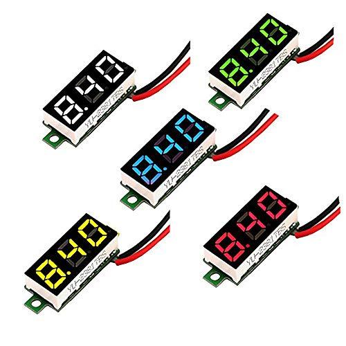 MCIGICM Voltage Tester, 2.5V-30V Mini Digital DC Voltmeter with 0.28 inch LED Display (5 Pcs)