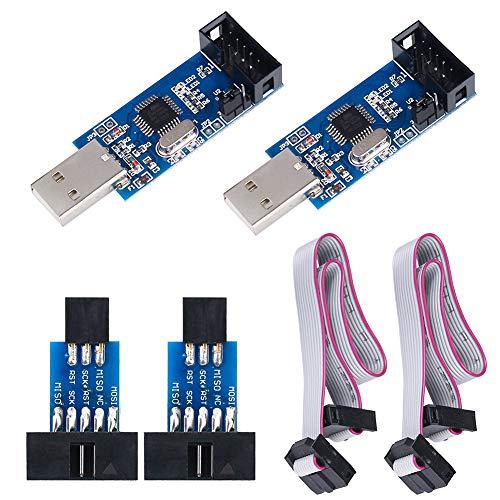 KeeYees 2 Piezas Descargador Programador para USBASP para ISP con Cable y Placa Adaptadora de 10 Pines a 6 Pines para 51 para AVR Microcontrolador