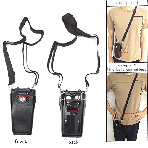 Lsgoodcare Black Hard Leather Carrying Holder Holster Case with Adjustable Shoulder Strap Compatible for Motorola 2 Way Radio HT1250 HT1550 GP320 GP340 GP380 GP338