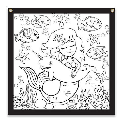 Rico Industries Mermaid Design Color-Me Felt, 36 x 36-inches