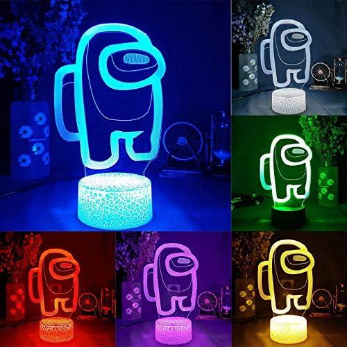 Among Us Lava Lamp 3D Illusion LED Table Lamp Night Light 7 Changeable Colors Mini Crew LED product image
