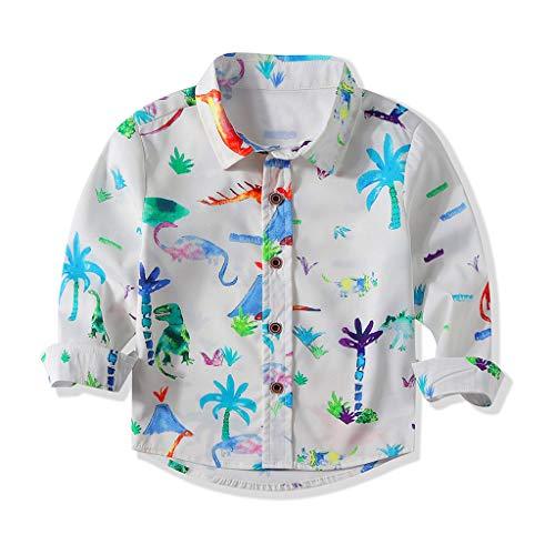 Anglewolf Jungen Kleinkind Kinder Hemd Dinosaurier Drucken Oberteile Streetwear Langarmshirt Säugling Bluse Knopf Freizeit Hemd 1-5Jahre (Weiß,100)