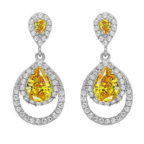 Opción múltiple Piedra preciosa en forma de pera Ropa de fiesta de plata de ley 925 Pendientes colgantes de racimo y acentos (CZ amarilla)