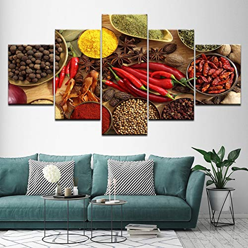 MMLZLZ Five Consecutive Pictures Wall Art Canvas Painting Posters Prints 5 Panel Spoon Grains Spices Peppers Kitchen Modular HD Food Picture Home Decor Poster Background Wall Prints Frameless
