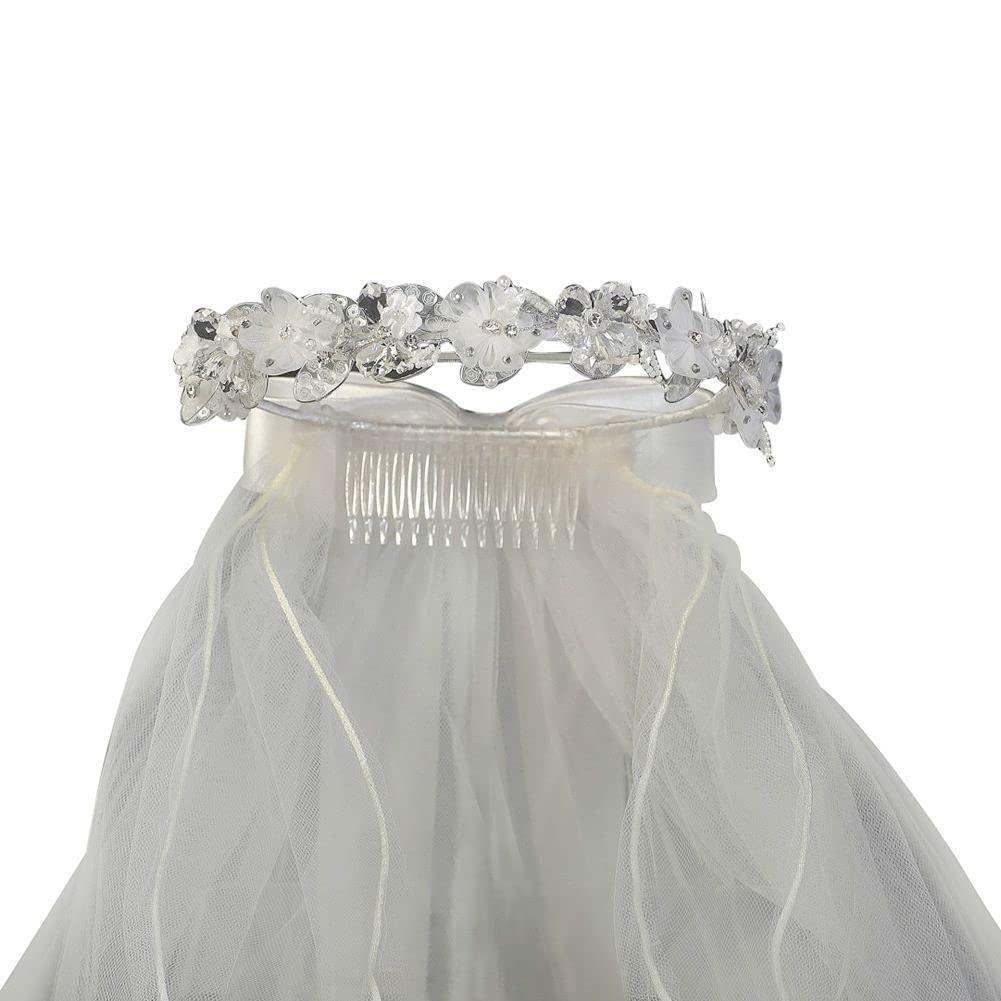 AUA-style Girls White Ora Crystals Headpiece 24