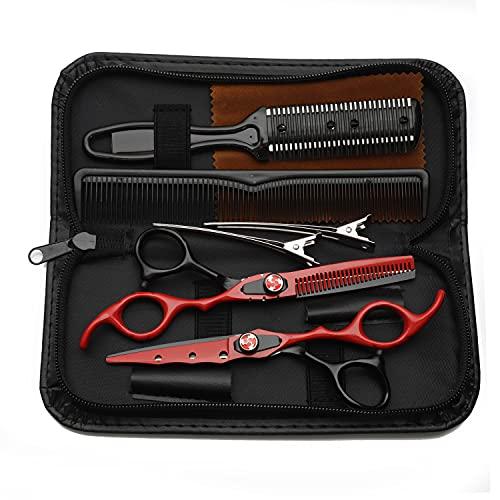 Tijeras profesionales de corte y adelgazamiento de cabello, peluquería,tijeras de acero inoxidable de 6.0 pulgadas, para peluquería, hogar, hombres, mujeres, niños,Black red suit