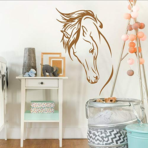 ASFGA Wandaufkleber Vinyl abnehmbare Flache Kopf Wandbild Wohnzimmer Dekoration Tierheim Aufkleber Schlafzimmer Junge liegen Pferd 57X85CM