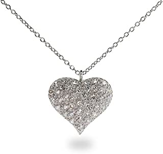 Sterling Silver CZ Heart Necklace Puffed Heart Pendant, 16