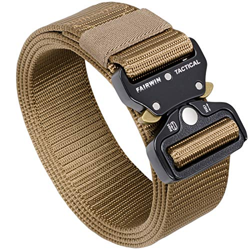 Fairwin Tactical Belt, Military Style Webbing Riggers Web Belt with Heavy-Duty Quick-Release Metal Buckle ( 30'-36', Tan)