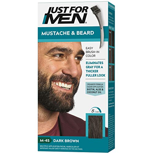 Just For Men Mustache & Beard, Beard Coloring for Gray Hair with Brush Included - Color: Dark Brown, M-45