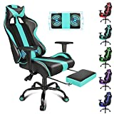 Miami Blue Gaming Chair with Massage Racing Style Video Game Chair PC Computer Gaming Chair Adjustable Height with Retractable Footrest, Headrest and Lumbar Support Breathable PU Leather E Sport Chair