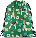 wenxiupin Wire Fox Terriers Raza de Perro Donuts Mochila Especial Saco Bolsa Gimnasio Bolsa para Hombres y Mujeres 17 X 14 Pulgadas de Moda 1921