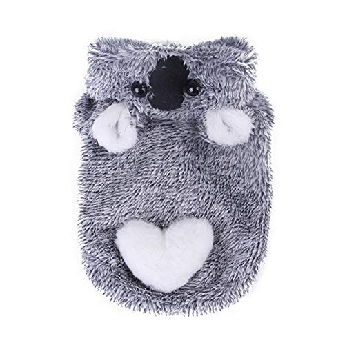 Small Dog Clothes Coat Pet Lovely Gray Koala Modeling Plush Winter Warm Two Legs Jacket Outfit For Small Medium Large Dogs