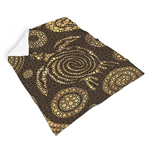 Magiböes Franela de troncos dorados, tortuga marina, tótem impreso, tradicional, decoración para el hogar, camping, blanco, 110 x 140 cm