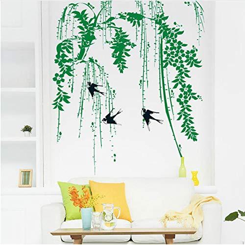 SLQUIET Schlucken wandaufkleber wohnzimmer hintergrundbild poster kunst abnehmbare PVC wandaufkleber grünes blatt vogel wandaufkleber 60x90 cm