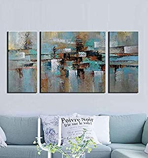 Teal Blue Abstract Oil Painting on Canvas Gallery-Wrapped Lost in The Rain 100% Hand-Painted Wall Art Decor Home Decoration 3-Piece for Living Room Bedroom and Office 30x60inch