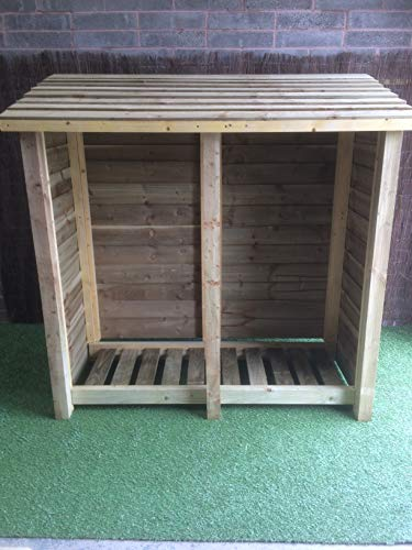 Rugglestone Double Bay Wooden Log Store / Garden Storage Available in Various Heights and Depths - Heavy Duty - Hand Made with Pressure Treated Timber (Height 5ft, 60)