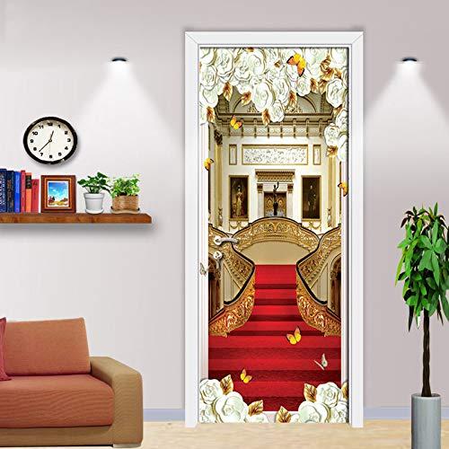 COOQITU 3D rode tapijt trap behang verwijderbare zelfklevende muurschilderingen voor slaapkamer huis deur woonkamer slaapkamer kantoor muur sticker