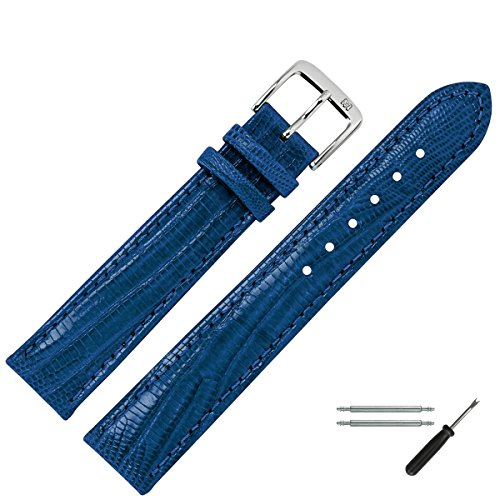 MARBURGER Uhrenarmband 18mm Leder Blau Eidechse - Werkzeug Montage Set 3551851000120