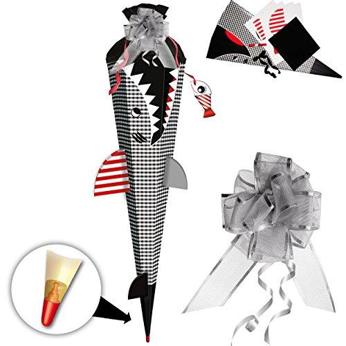 alles-meine.de GmbH komplette Füllung - Circa 200 Teile - für BASTELSET - 3D Effekt - Schultüte -  Fisch - Hai Happen - Fische  - inkl. Schleife - - mit Holzspitze - Filzabschl..