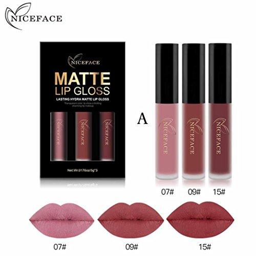 Gaddrt NICEFACE 3 STÜCKE Neue Mode Wasserdicht Matt Flüssigen Lippenstift Kosmetische Sexy Lipgloss Kit (A)