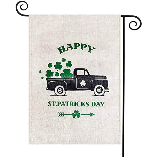 TGOOD St Patricks Day Garden Flag Decorations Outdoor Banner,12.5x18 inch Double Sided Buffalo Check Plaid Durable Burlap Shamrock Home Decorative Clover Welcome Flag,Holiday Yard Sign Seasonal Flag