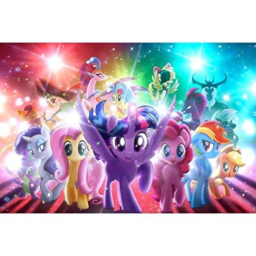 GJWL Pony Madera Polaroid Puzzle Juguete, mi pequeño Pony de Dibujos Animados cómico Cartel Rompecabezas, Juguete de la educación de descompresión cumpleaños