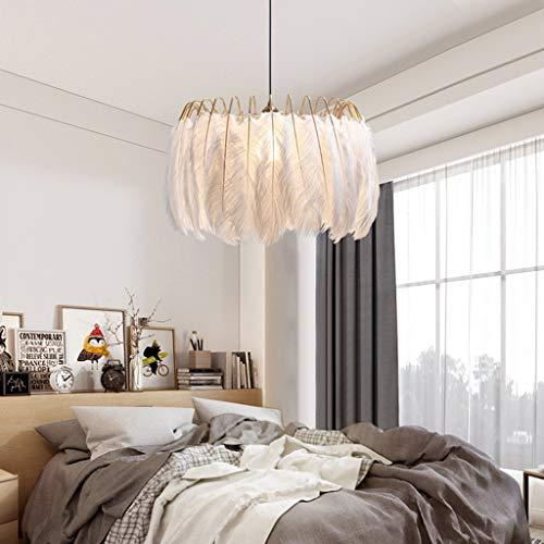 JDKC- Lámpara Colgante de Techo de Plumas Estilo Nórdico Araña Romántica Dulce Moderna E27 Droplight de Pelo de Avestruz para Sala de Estar Dormitorio Comedor (Color : Warm Light, Size : 45CM)