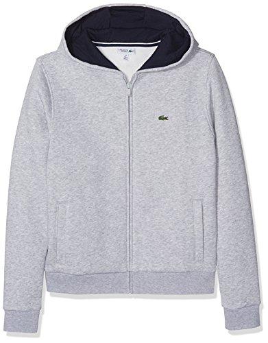 Lacoste Jungen Kapuzen Sweatshirt Jacke, Grau (Argent Chine/Marine), 14 Jahre (Herstellergröße: 14A)